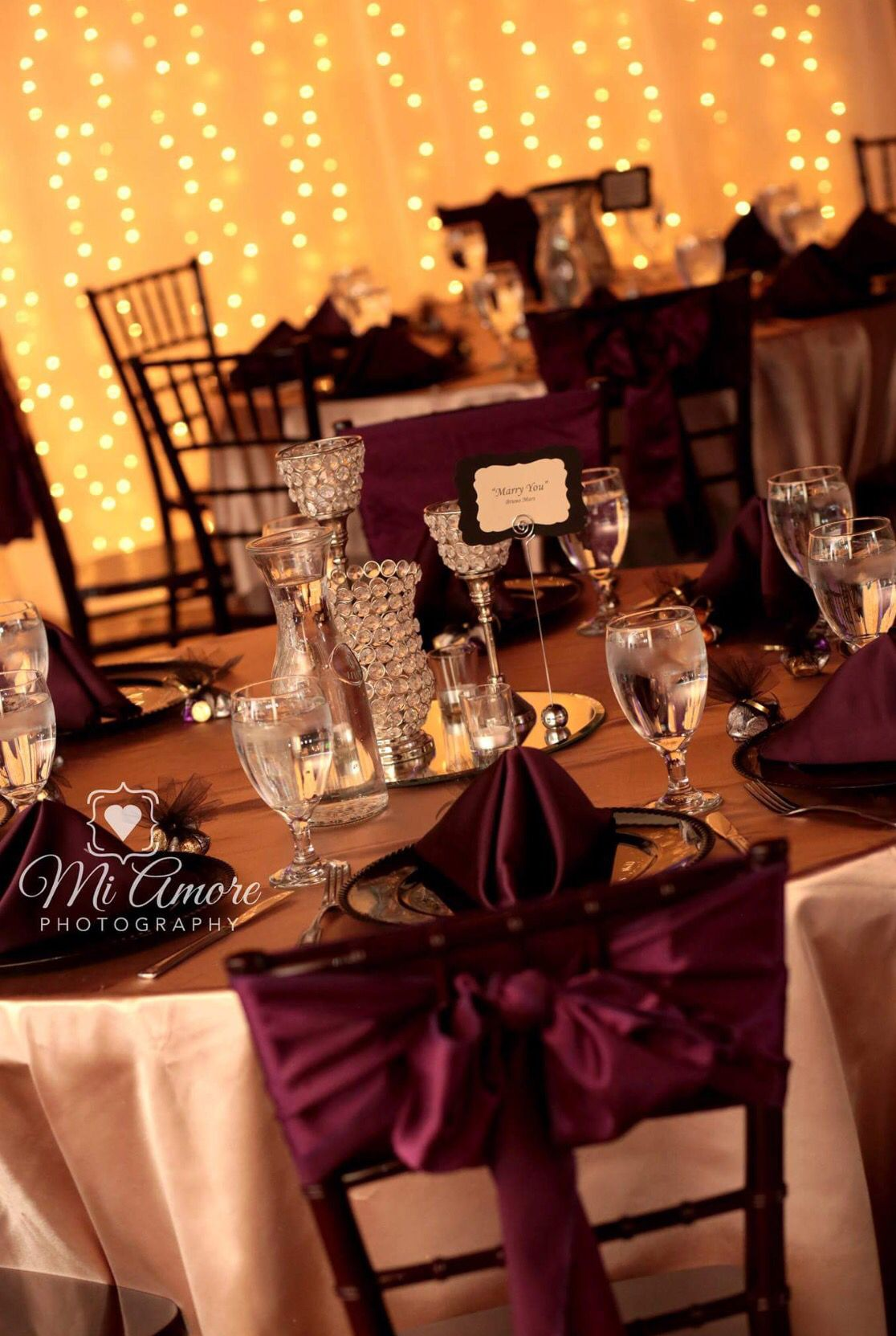Burgundy Sashes With Bling Centerpieces On Gold Linen
