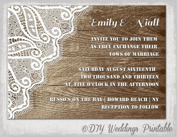 "rustic wedding invitation template ""wood & lace"" wedding,"