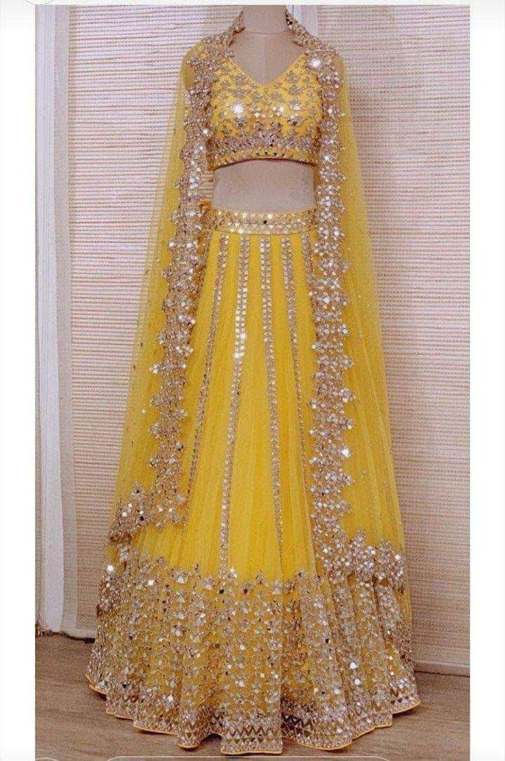 Pure Georgette Lehenga with Mirror Work Embroidery