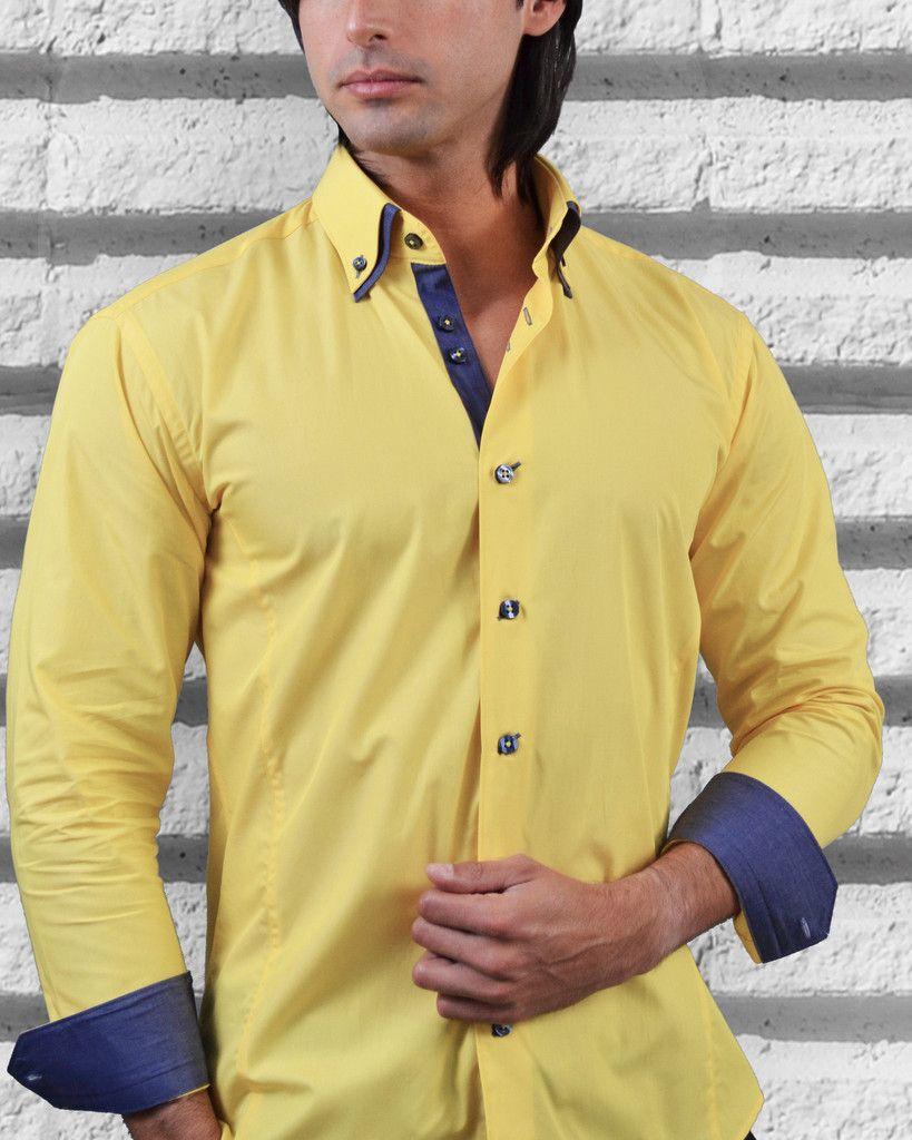Yellow dress shirt for men | Via Uomo shirt - San Remo | Fashion ...