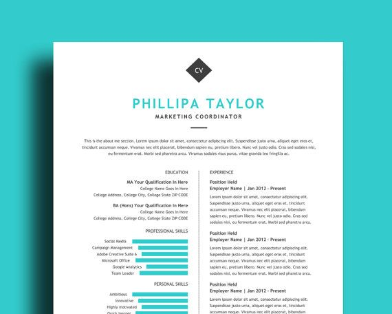 Clean Resume Template \/ CV Template With Free Cover Letter All - windows resume template