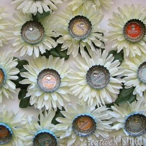 Use fake daisy flowers and glue a 1 bottle cap in the for How to make bottle cap flowers