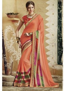 Peach Georgette Saree, - £59.00, #DesignerDresses #FashionUK #Womanwear #Shopkund