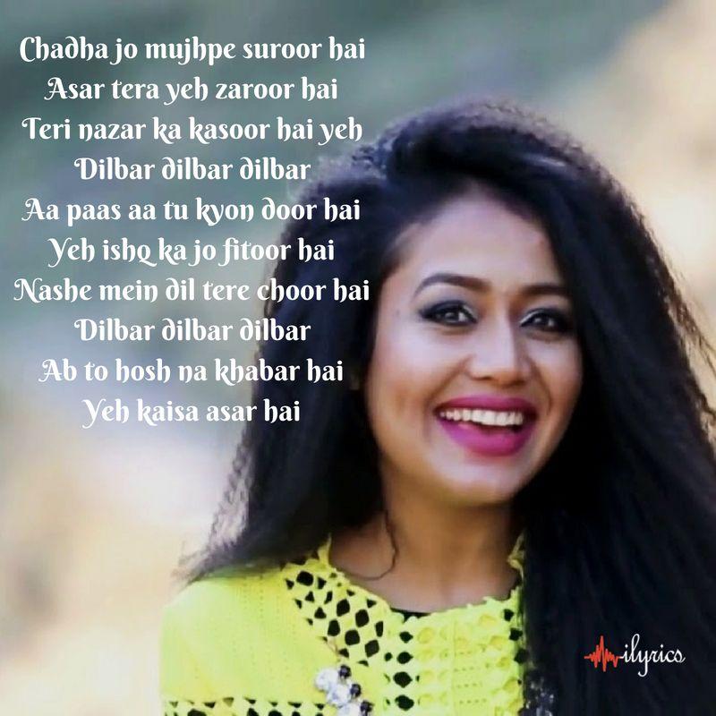 Dilbaro Harshdeep Kaur Vibha Saraf Shankar Mahadevan: ♥Song's Lyrics♥