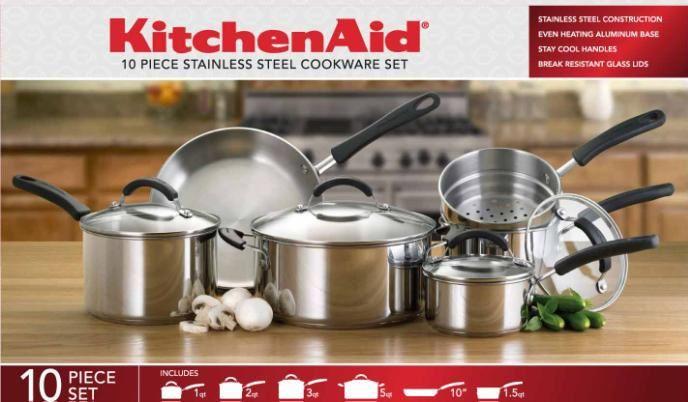 Kitchenaid Pot And Pan Set 71462 gourmet distinctions stainless 10-piece cookware set