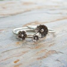 Tiny Flower Stacking Rings Set of Three