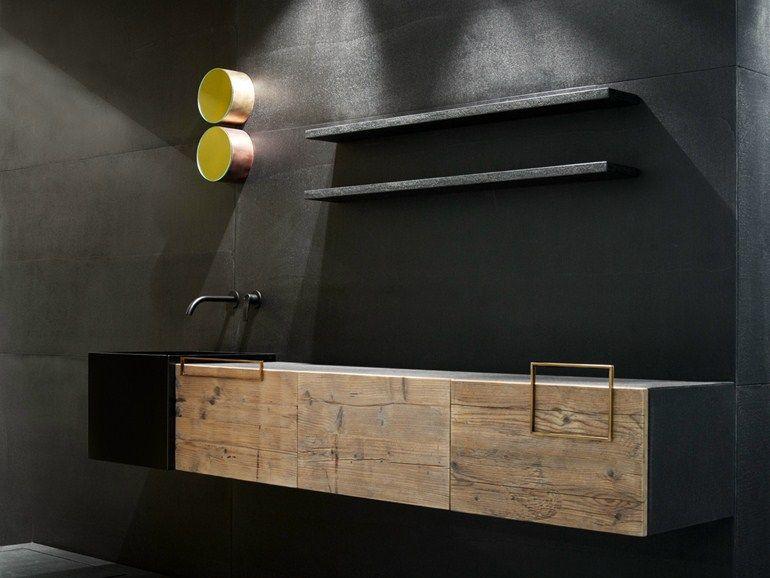 Waschtischunterschrank design  Einzel- hängender Waschtischunterschrank aus Holz mit Türen DOOR RE ...