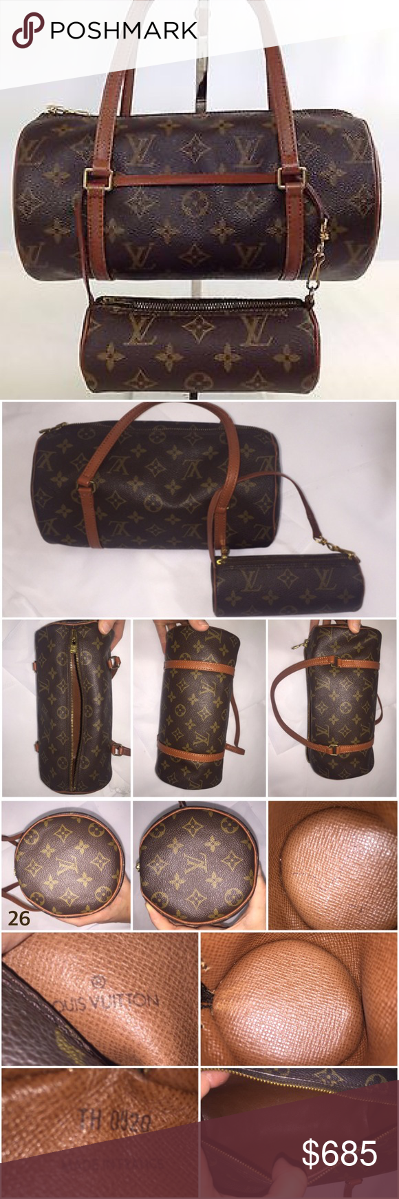 """Authentic Louis Vuitton Papillon 26 w/ mini Louis Vuitton Monogram Papillon 26 w/ mini Papillon.   Brown and tan monogram coated canvas Louis Vuitton Papillon 26 w/ brass hardware, brown leather trim, dual flat top handles, brown leather lining and zip closure at top. Mini bag's handle detaches to clip around this Papillon 26, or to whatever your heart desires.    Exterior and interior of BOTH bags are in EXCELLENT condition!   Measurements: Handle Drop 3.5"""", Height 6.5"""", Width 10"""", Depth 5""""…"""
