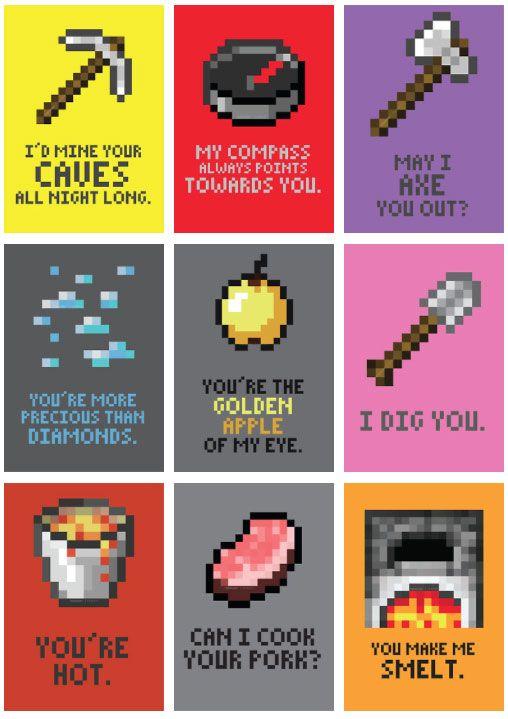 Minecraft Valentine Cards Minecraft Valentine S Day Cards