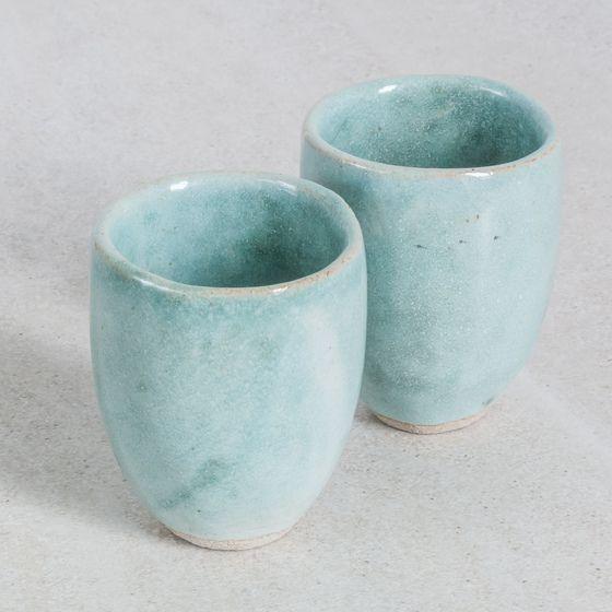 Image of Small Green/Grey Stoneware Beakers
