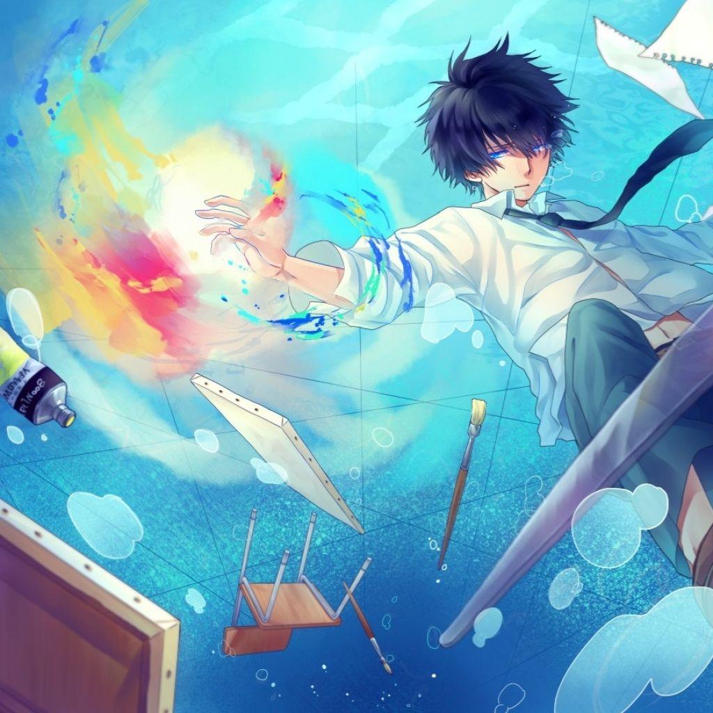 Water Blue Eyes Blue Hair Anime Boy Anime Anime Art Beautiful