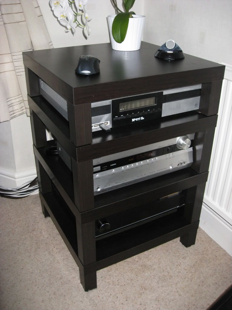 Awesome home built HIFI rack made of IKEA lack coffee tables ...