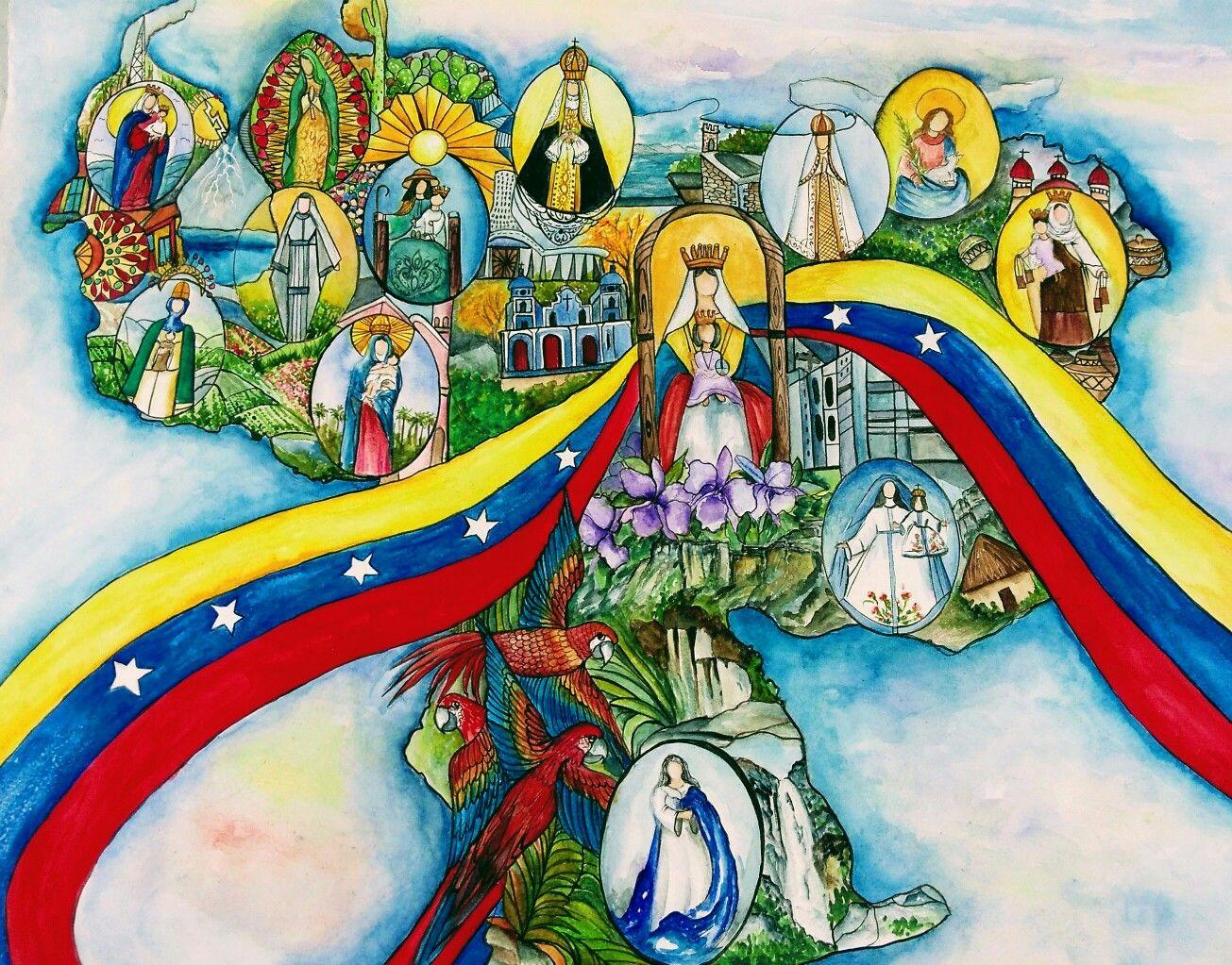 Mapa De Venezuela Virgencitas De La Drawings Painting Art