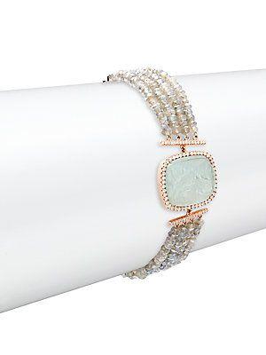 Meira T Diamond Labradorite Bead & 14K Rose Gold Bracelet No