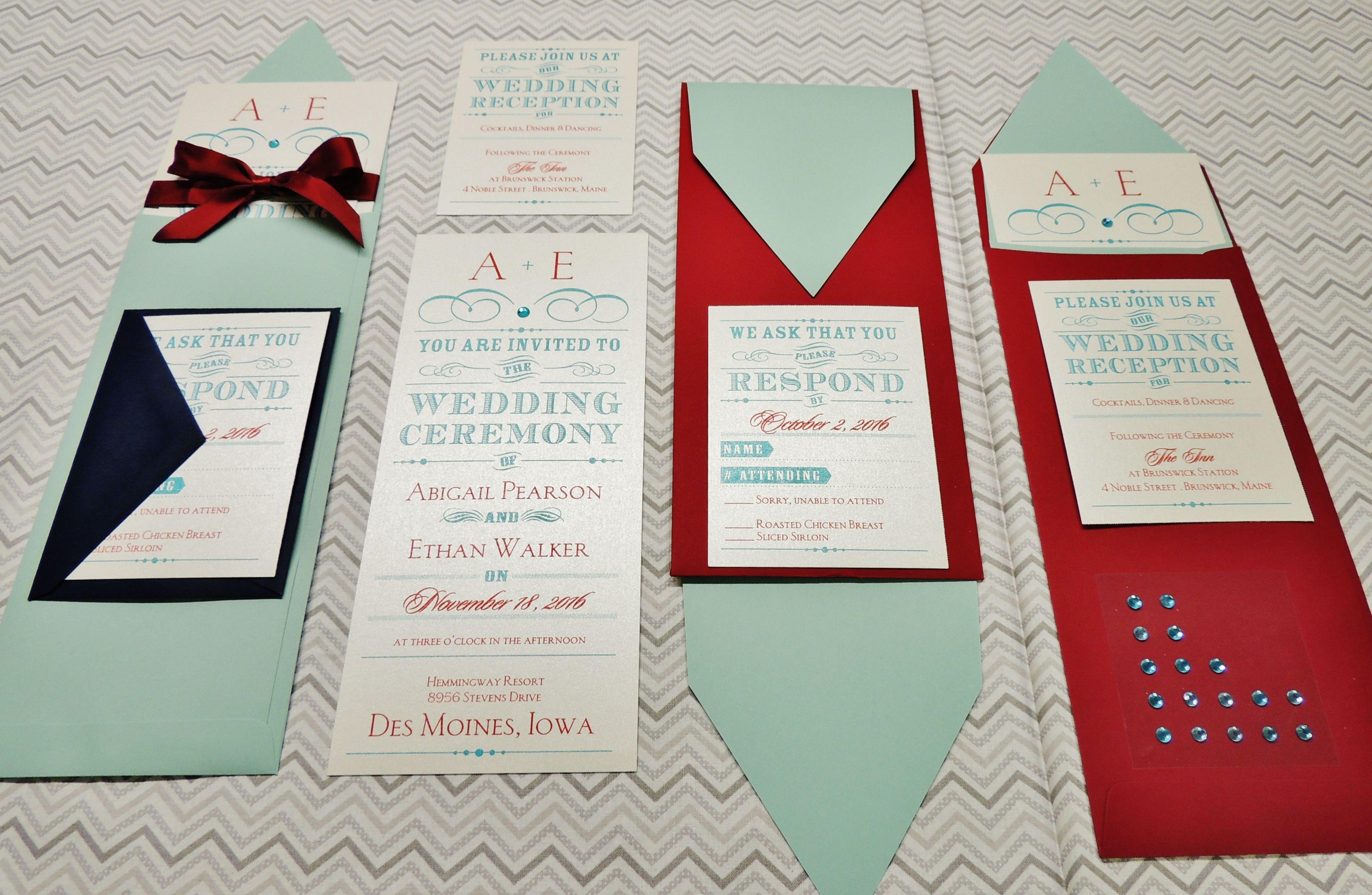 Red & Aqua Wedding Invitations from Tatex Thermographers | Wedding ...