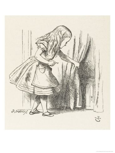 Alice Draws Back The Curtain To Reveal A Little Door Giclee Print