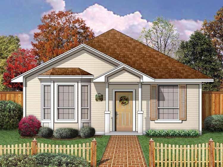 W3121-V1 - Bungalow champêtre, 2 chambres, plafond 9u0027, vestibule - plan maison terrain pente