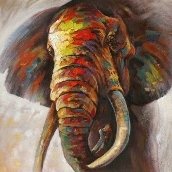 Schilderij olifant 115x115 schilderijenshop dieren for Schilderij olifant