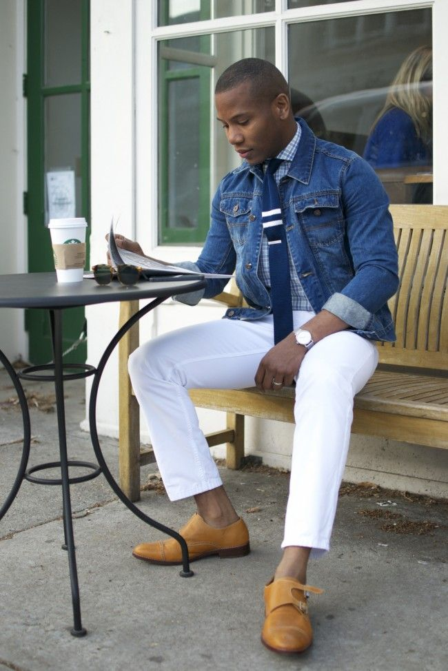 Denim Jacket As a Blazer knitted tie white jeans