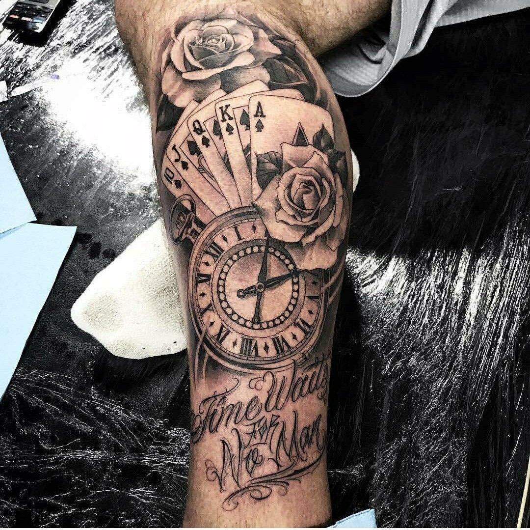 Time Waits For Noman La Pinterest Tattoos Leg Tattoos And