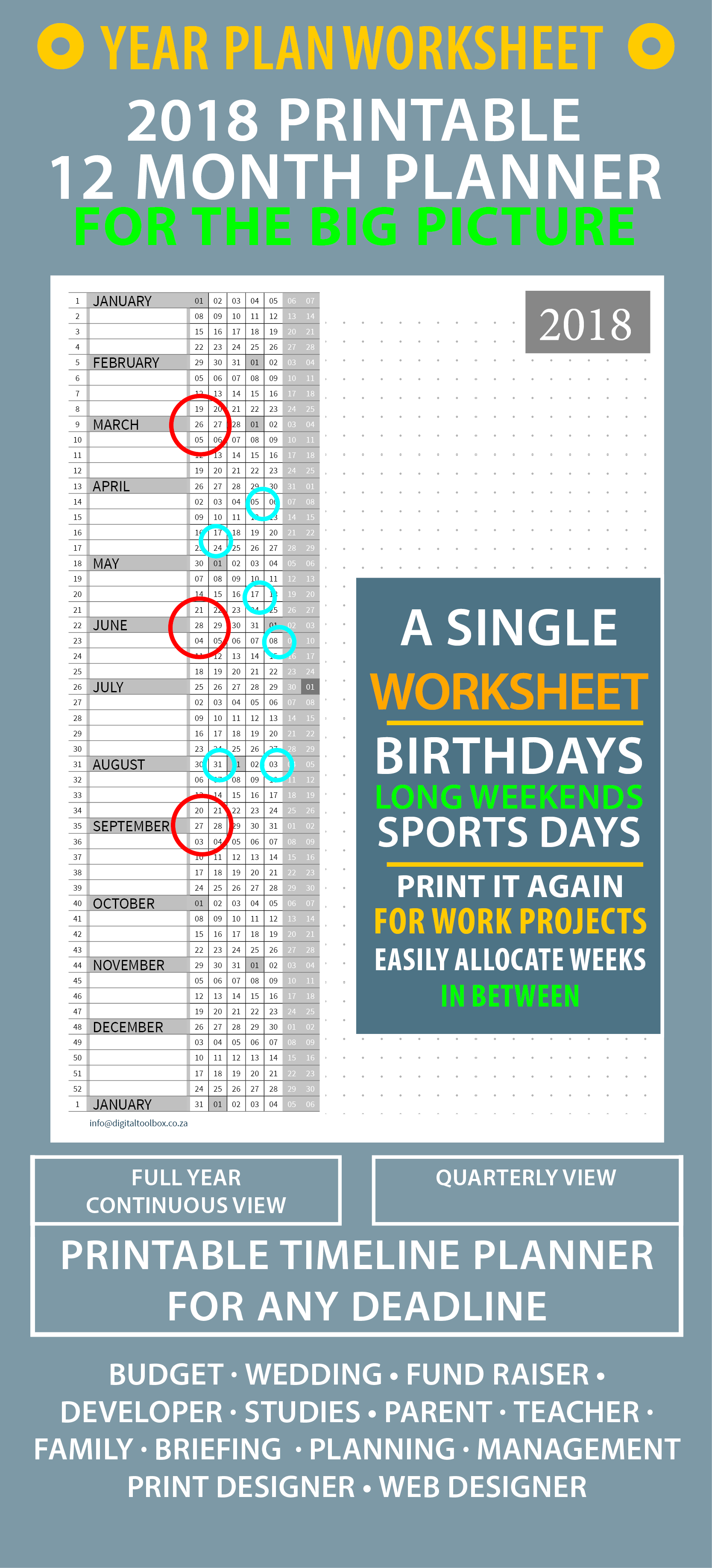 Year At A Glance Printable A4 Planning Worksheets