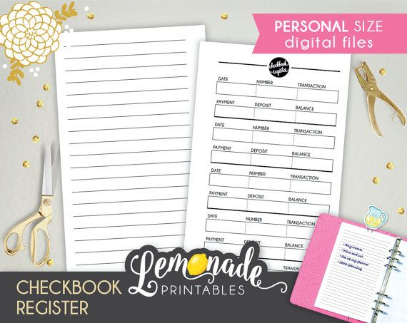 Checkbook Register Printable Personal by lemonadeprintables - printable check register