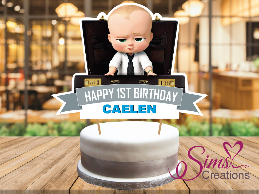 Boss Baby Theme Cake Topper Cake Centerpiece Is Perfect For A Boss Baby Theme Celebration Customize You Baby Cake Topper Baby Birthday Cakes Diy Cake Topper