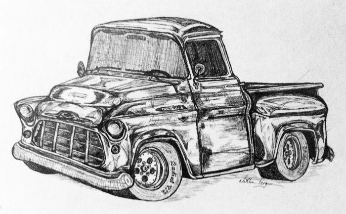 Resultado De Imagen Para Pencil Drawings Of Old Trucks Old School Cars Old Trucks Big Trucks