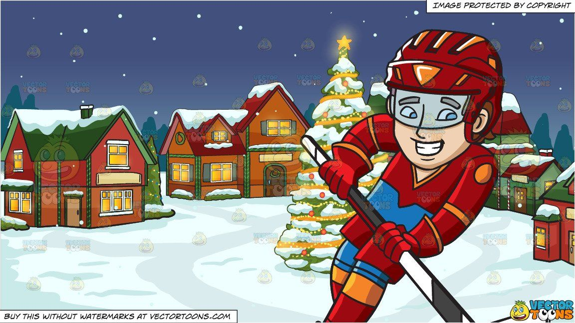 Clipart Cartoon A Hockey Player Swirls Into The Ice Rink And Santas Village Background Vendor Vectortoon Ty Red Helmet Big Christmas Tree Santa S Village
