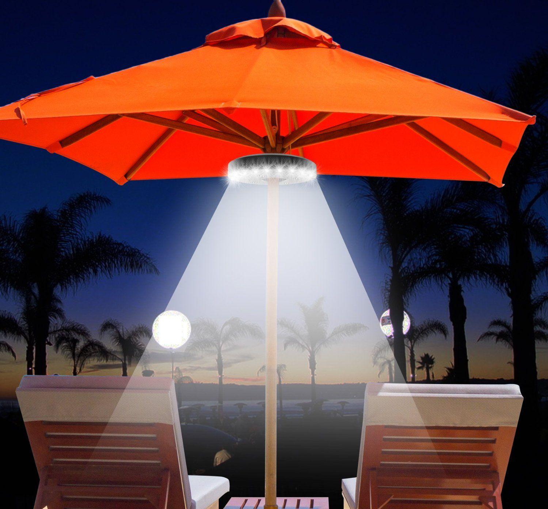 QPAU Patio Umbrella Light 3 Lighting Mode Wireless 28 LED Lights