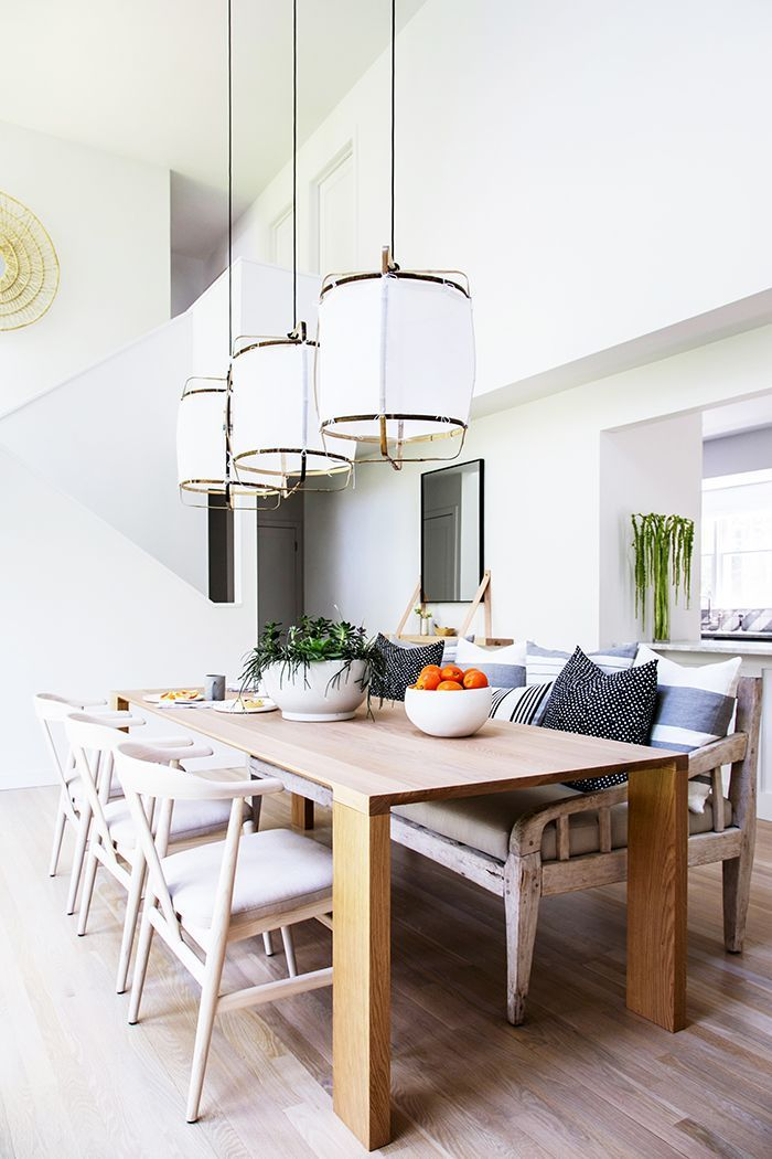 inside a bright and airy east hampton home with a boho chic twist dining room inspiration on boho chic dining room kitchen dining tables id=33765