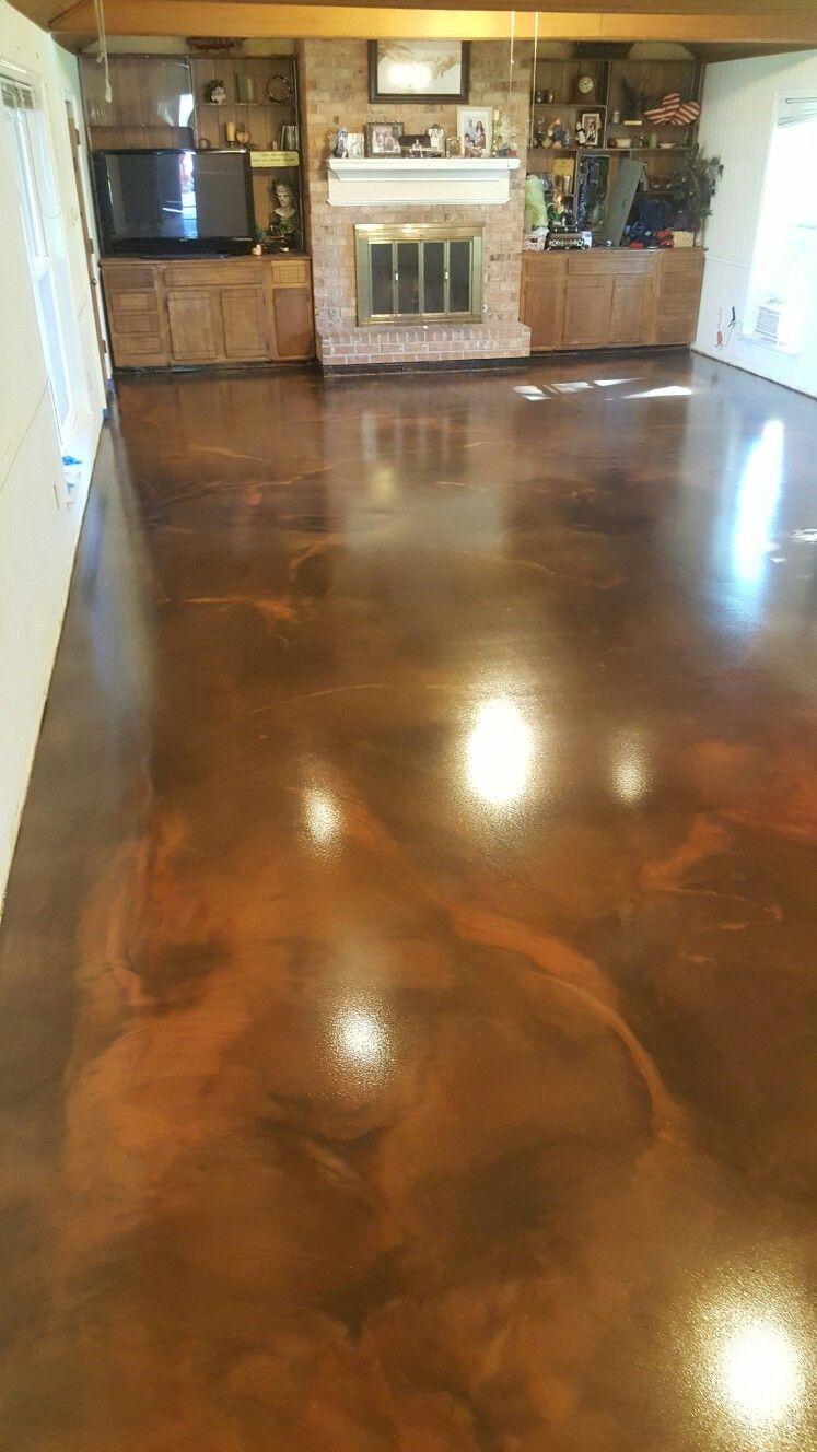 Chocolate Milk And Brass Reflector Metallic Epoxy Floor By Ras Epoxy Coatings Baton Rouge Metallic Epoxy Floor Epoxy Floor Epoxy Coating