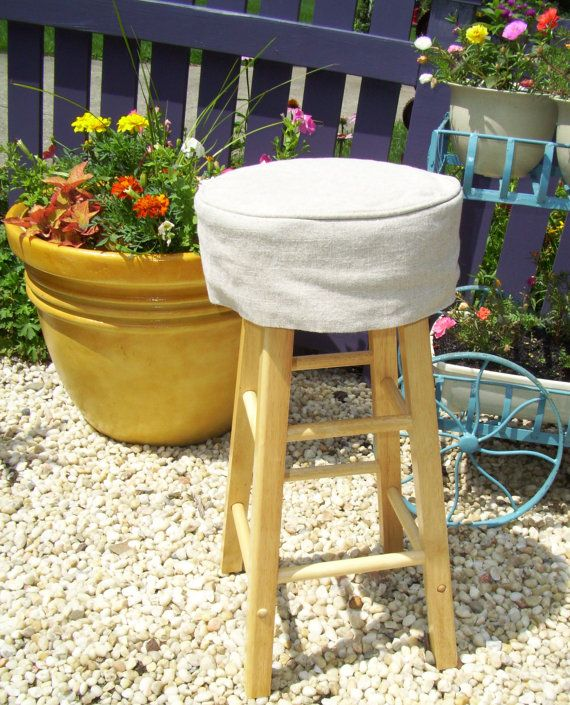 Linen Round Barstool Slipcover with Cushion by AppleCatDesigns