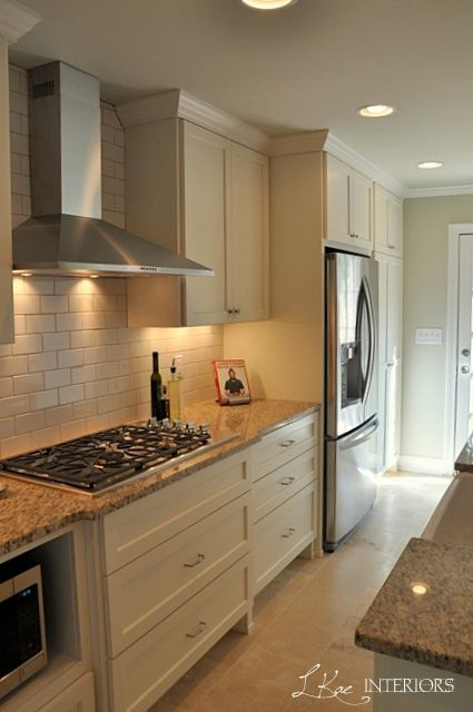 Cream Subway Tile Backsplash Kitchen