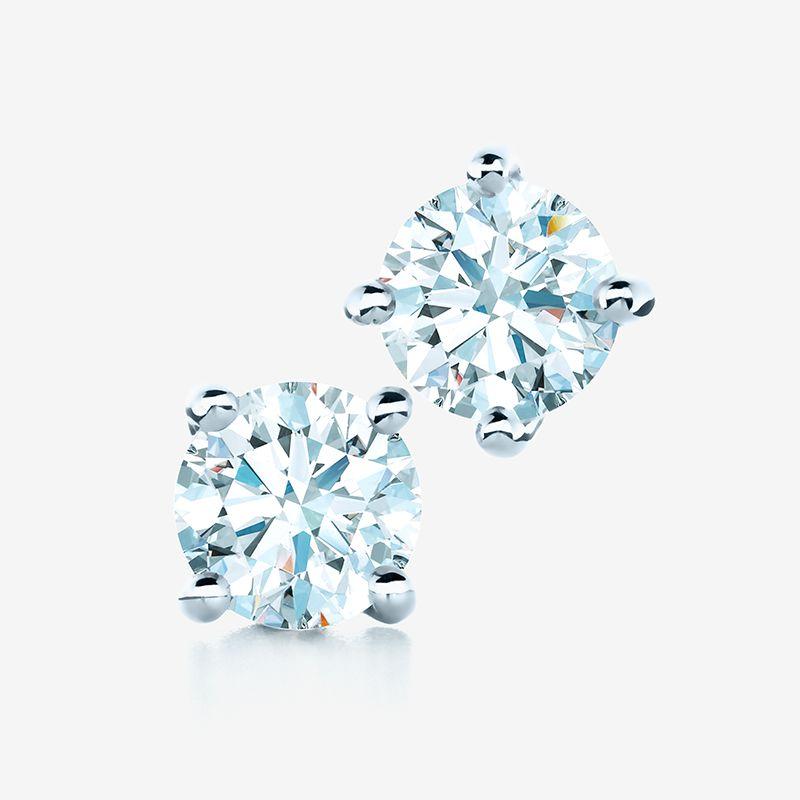 Tiffany Solitaire Diamond Earrings In Platinum With Round Brilliant Diamonds