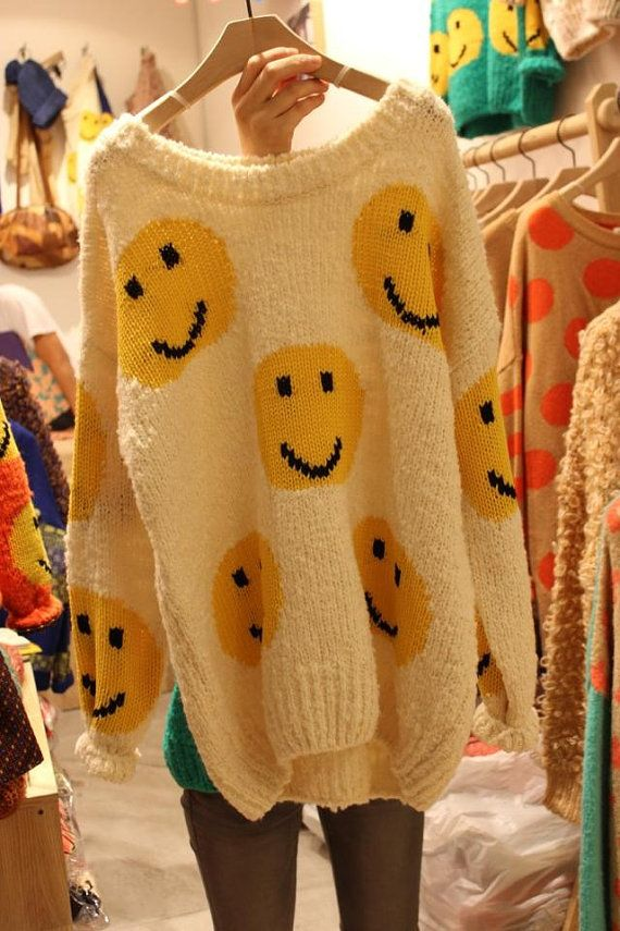 smiley face sweater by MyLikeZoo on Etsy, $52.00~