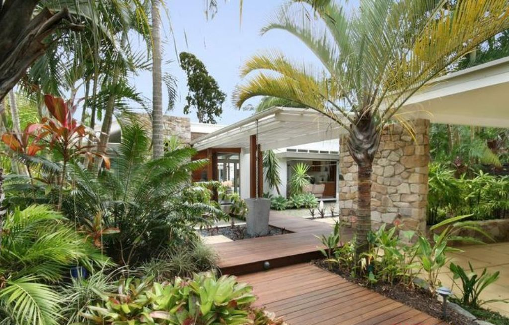 collection in tropical backyard ideas outdoor tropical garden with wooden deck for luxury