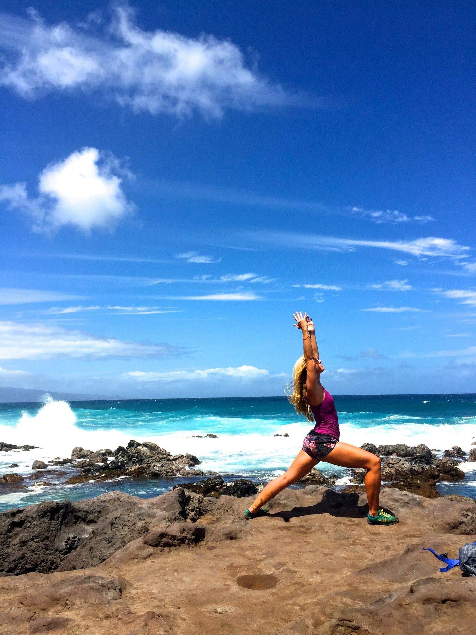 Rachel Tarver Warrior I Ho Okipa Beach Yoga Teacher Training Yoga Teacher Training Yoga Shala Yoga Teacher