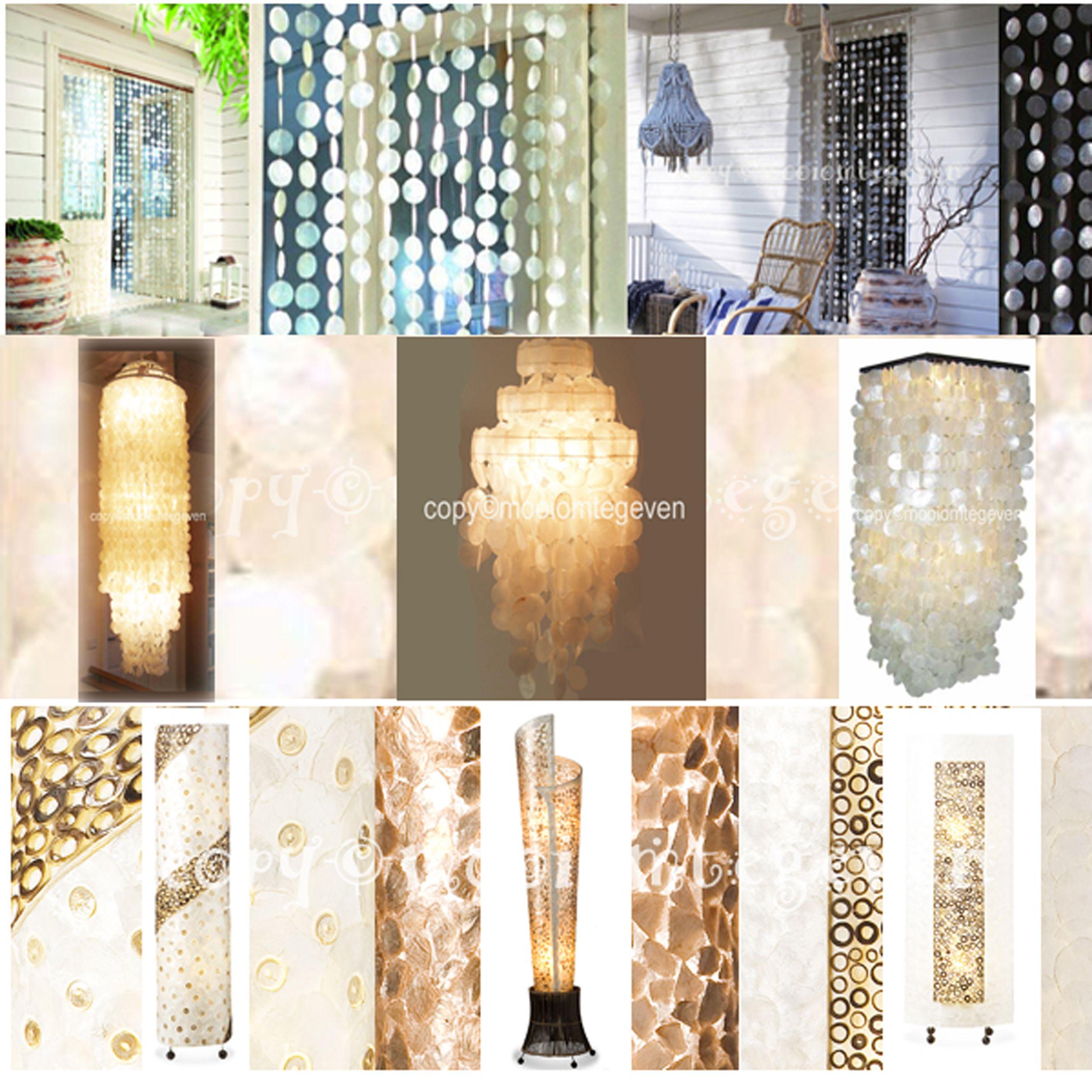 Nice Prachtige Capiz schelpen plafond lampen in Retro Ibiza style Deze extravagante schitterende plafond hang
