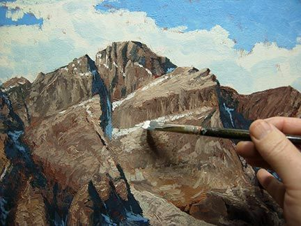 painting mountains, brush and knife, oil painting