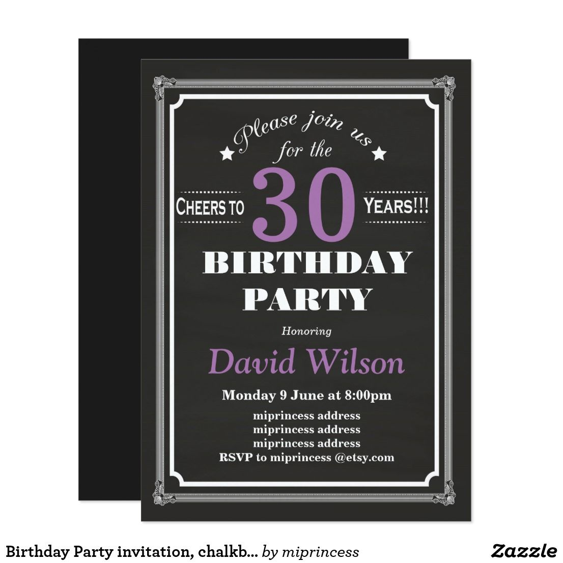 Birthday party invitation chalkboard background card filmwisefo Choice Image