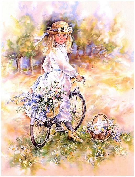 Словами, открытка девушка на велосипеде