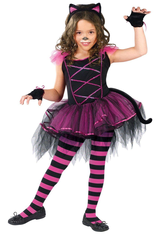 Girls Halloween Black Pink Cat Tutu Fancy Dress Costume Cute Party Outfit Kids