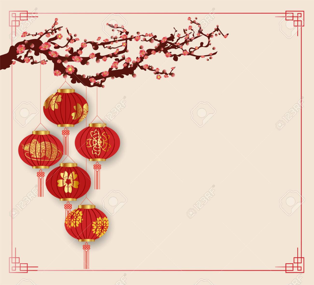 Happy Chinese New Year 2020 Background With Lanterns And Cherry In 2020 Chinese New Year Background Chinese New Year Decorations Chinese New Year 2020