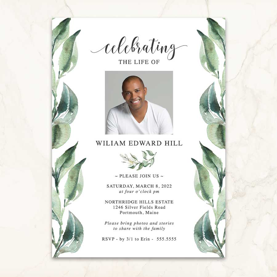 Funeral Invitation Photo And Greenery Leaves Funeral Invitation Memorial Service Invitation Celebration Of Life