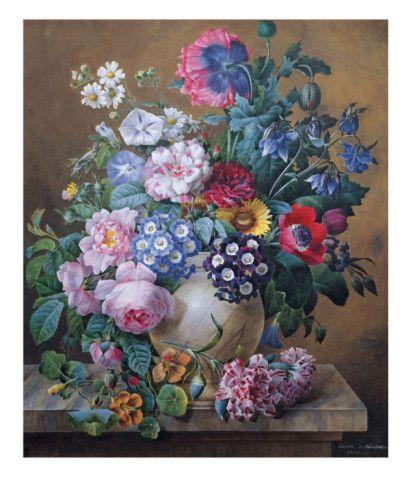 9c56421e Rich Still Life of Summer Flowers Posters by Camille de Chantereine ...