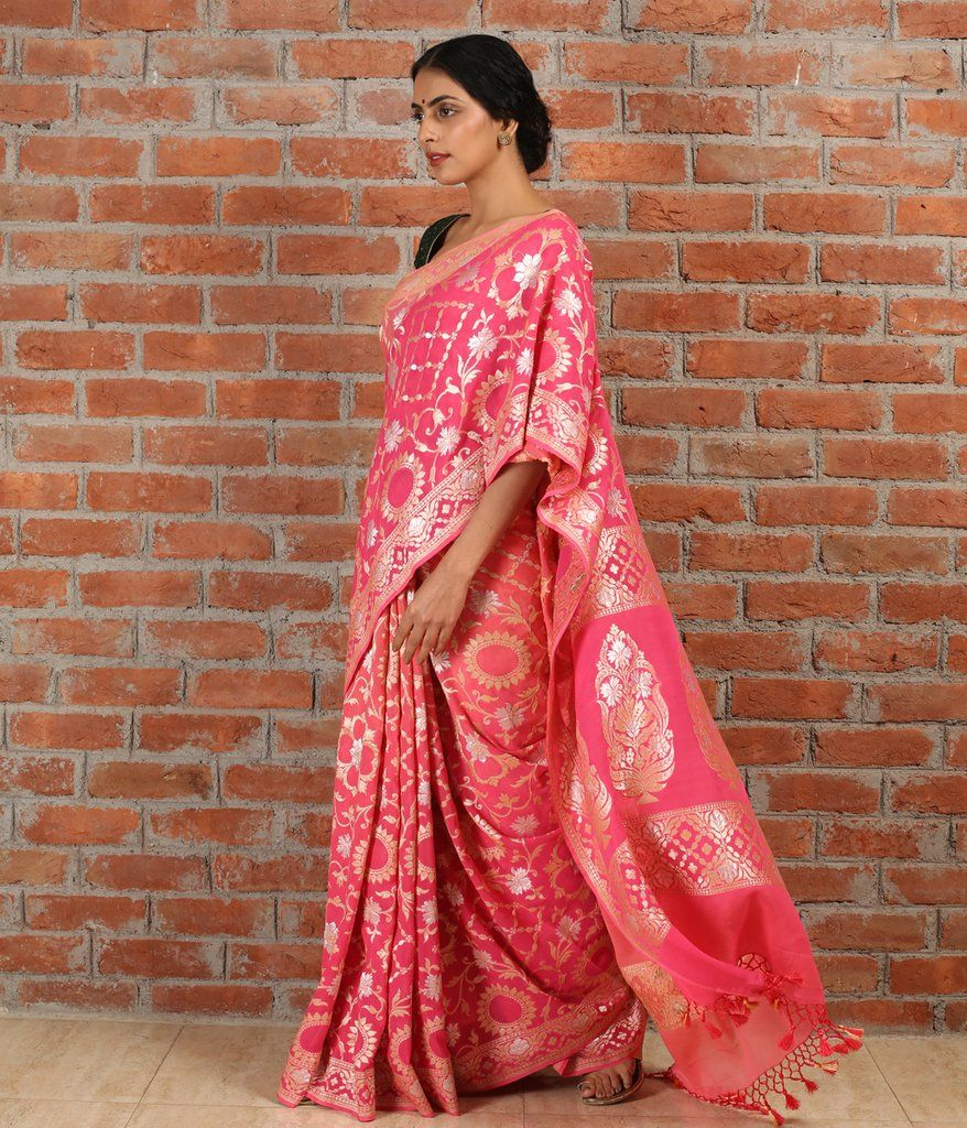 1814ef38634a03 Peach pink ombre dyed Handwoven pure gorgette saree