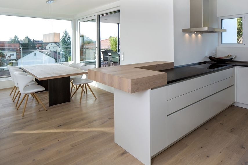 Moderne Küche Kochinsel Weiß Matt Holz Theke Kappa Armony - Wohn - küche weiß mit holz