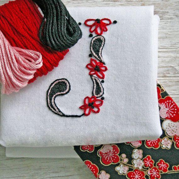 Diy pdf crewel embroidery pattern monogram j is by