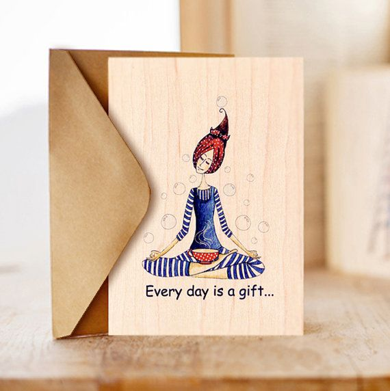Wood Card Relaxing Yoga Happy Birthday Card Birthday Card For